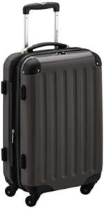 HAUPTSTADTKOFFER - Alex - Handgepäck Hartschalen-Koffer Trolley Rollkoffer Reisekoffer Erweiterbar, 4 Rollen, 55 cm, 42 Liter, Graphit -