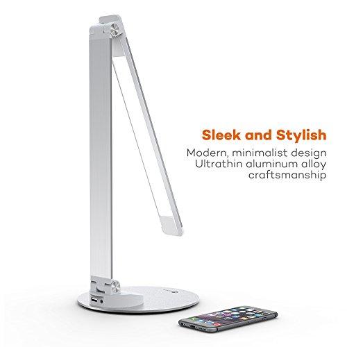 LED Schreibtischlampe Metall TaoTronics Tageslichtlampe, 5 Helligkeitsstufen und 5 Farbtemperaturen–3000K, 3500K, 4000K, 5000K und 6000K, ultradünne Aluminiumlegierung, berührungsempfindlich und blendfrei, Merkfunktion, USB-Ladeanschluss 5V 1A -